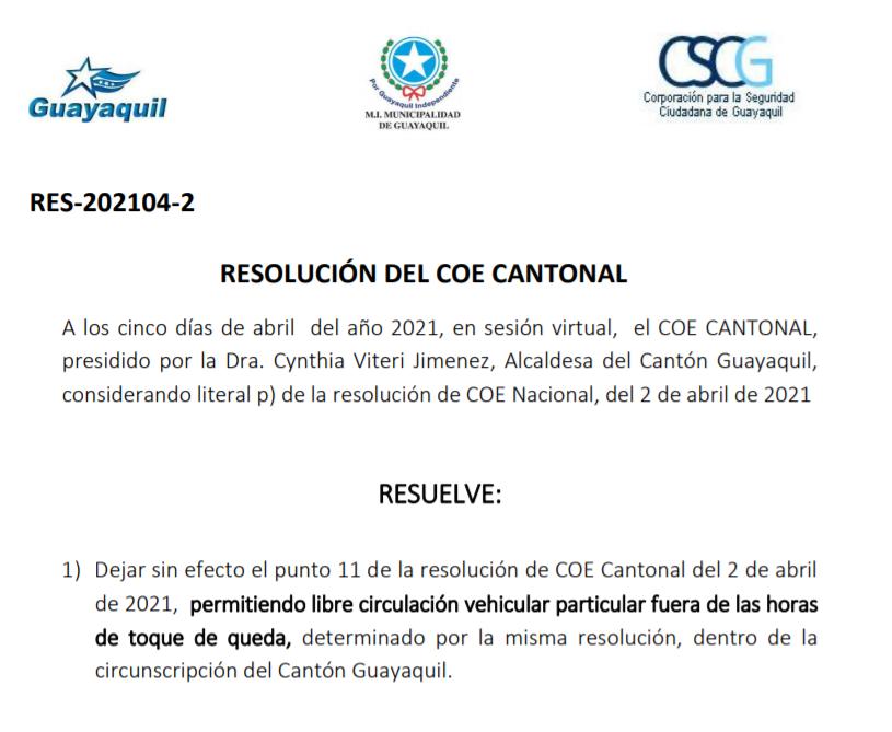 Resolución COE Cantonal