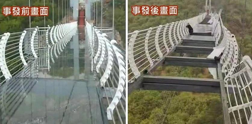 Dramático momento en el que se rompen varias piezas de un puente de cristal y hombre queda colgando a 100 metros de altura